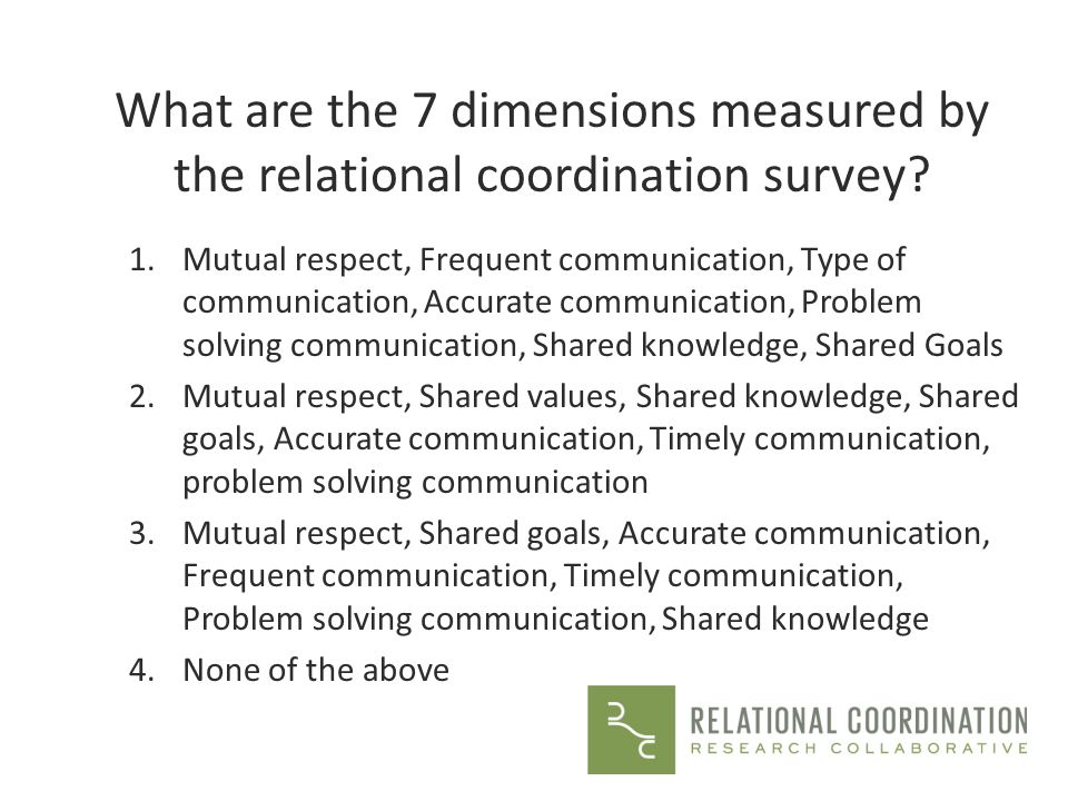 What are the 7 dimensions measured by the relational coordination survey