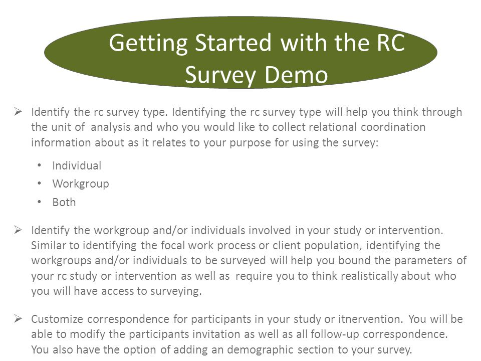 Getting Started with the RC Survey Demo