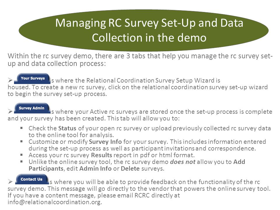 Managing RC Survey Set-Up and Data Collection in the demo