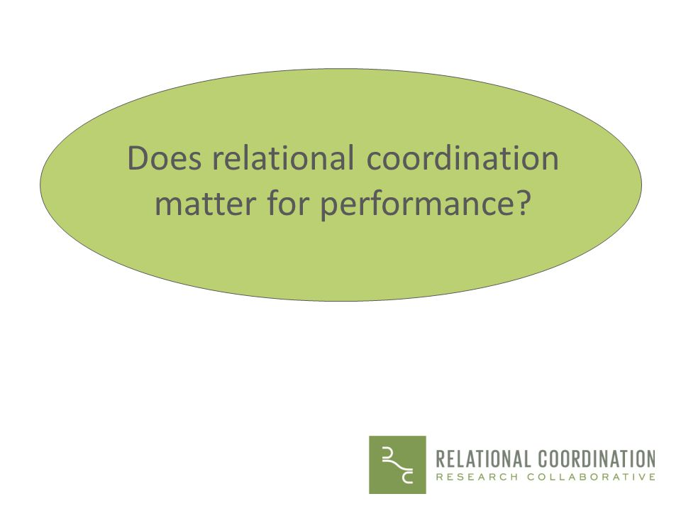 Does relational coordination matter for performance