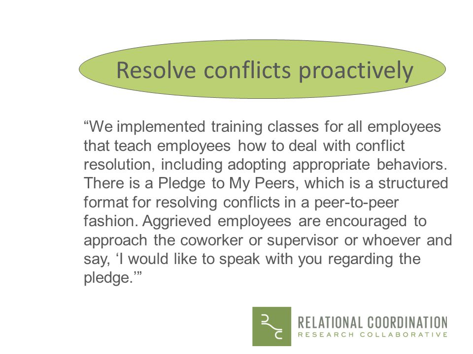 Resolve conflicts proactively