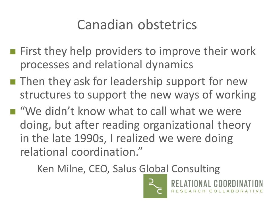 Canadian obstetrics First they help providers to improve their work processes and relational dynamics.