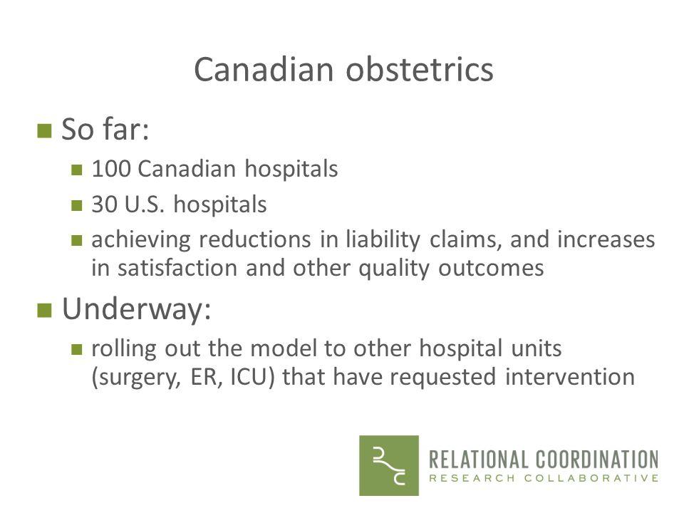 Canadian obstetrics So far: Underway: 100 Canadian hospitals