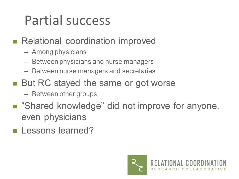 Partial success Relational coordination improved
