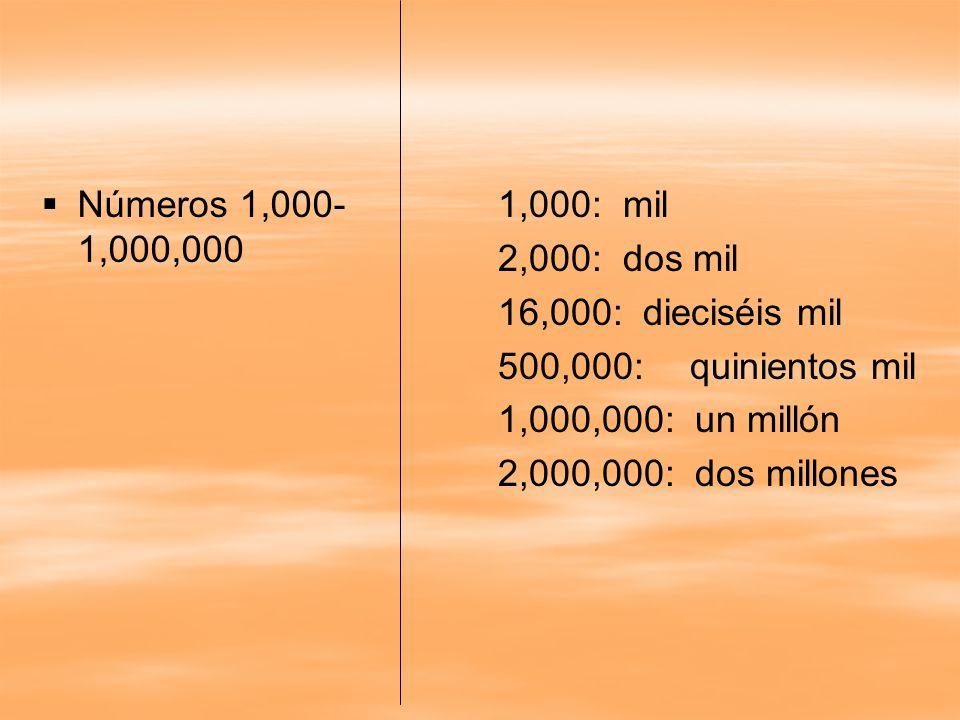 Números 1,000-1,000,000 1,000: mil. 2,000: dos mil. 16,000: dieciséis mil. 500,000: quinientos mil.