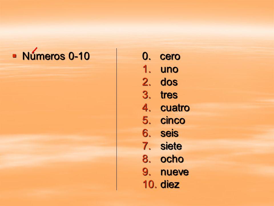 Números 0-10 0. cero uno dos tres cuatro cinco seis siete ocho nueve diez