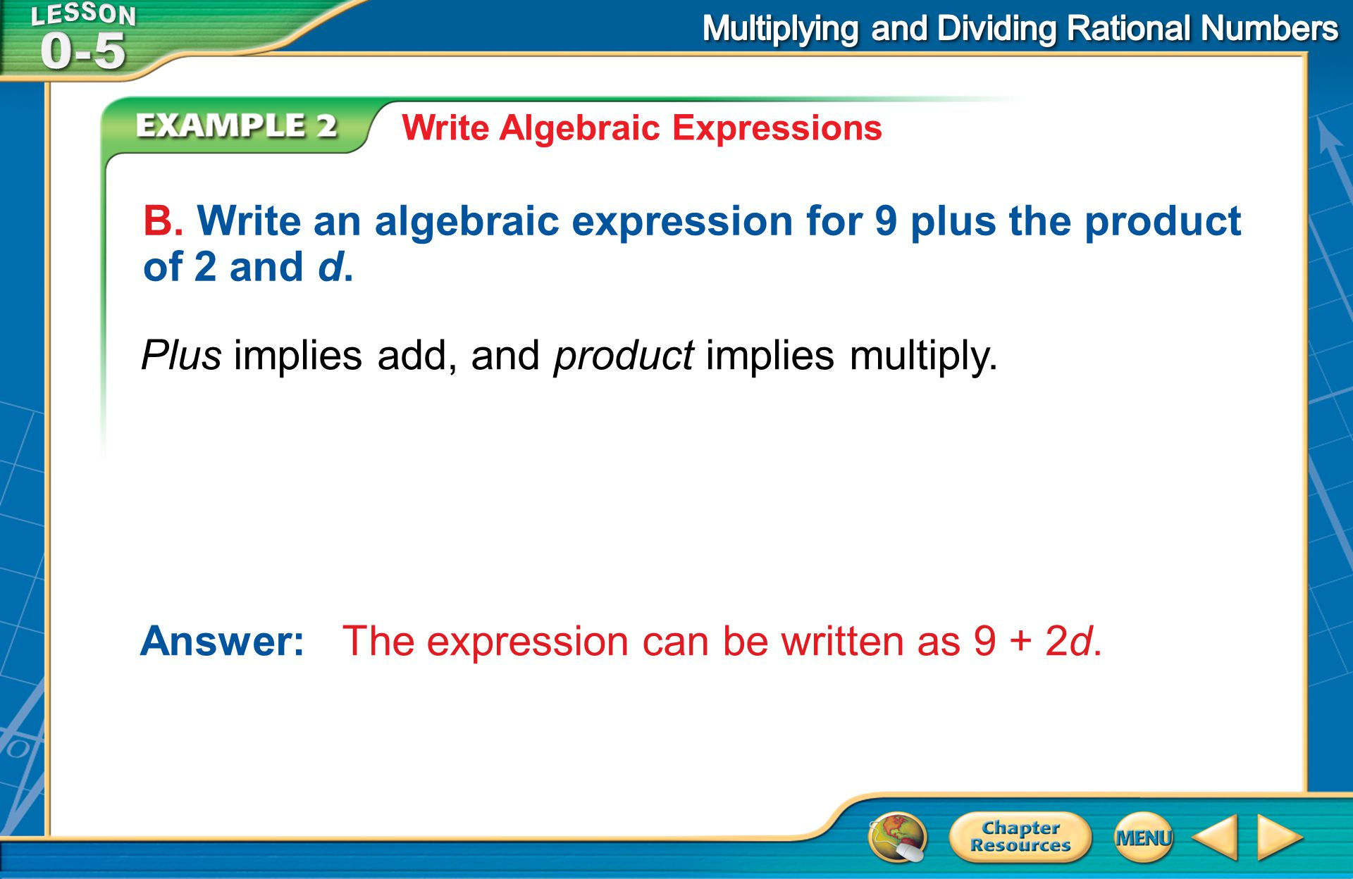 B. Write an algebraic expression for 9 plus the product of 2 and d.