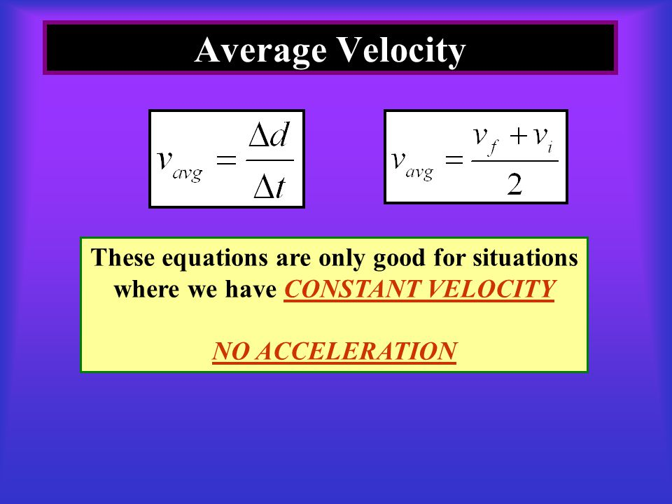 Average Velocity These equations are only good for situations