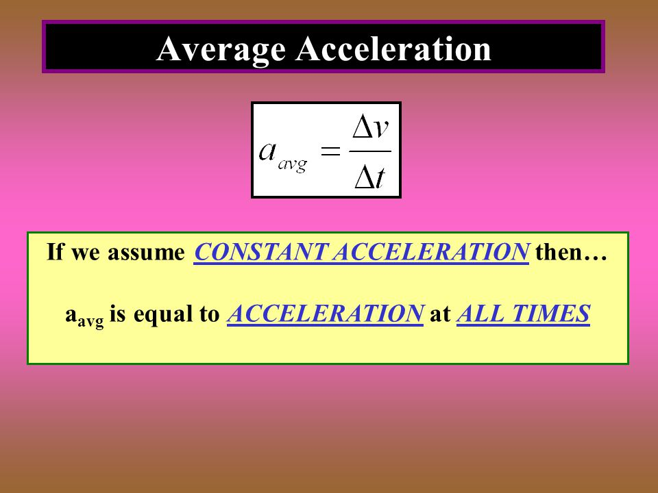 Average Acceleration If we assume CONSTANT ACCELERATION then…