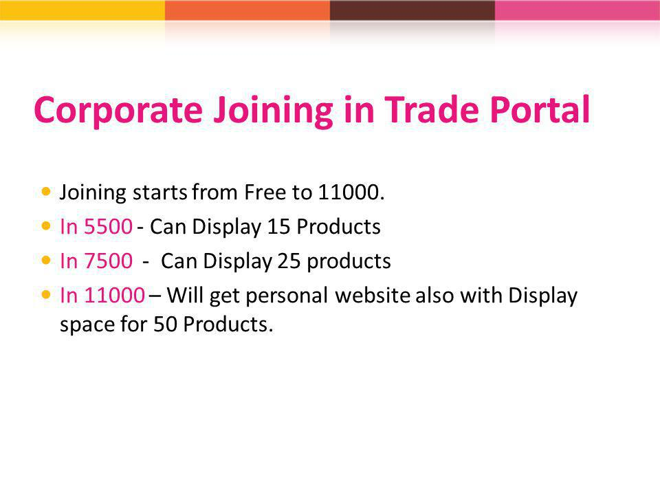 Corporate Joining in Trade Portal