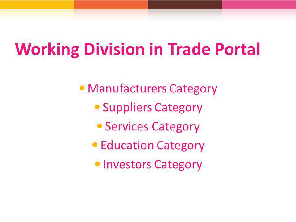 Working Division in Trade Portal
