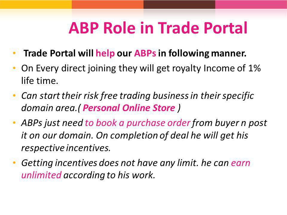 ABP Role in Trade Portal
