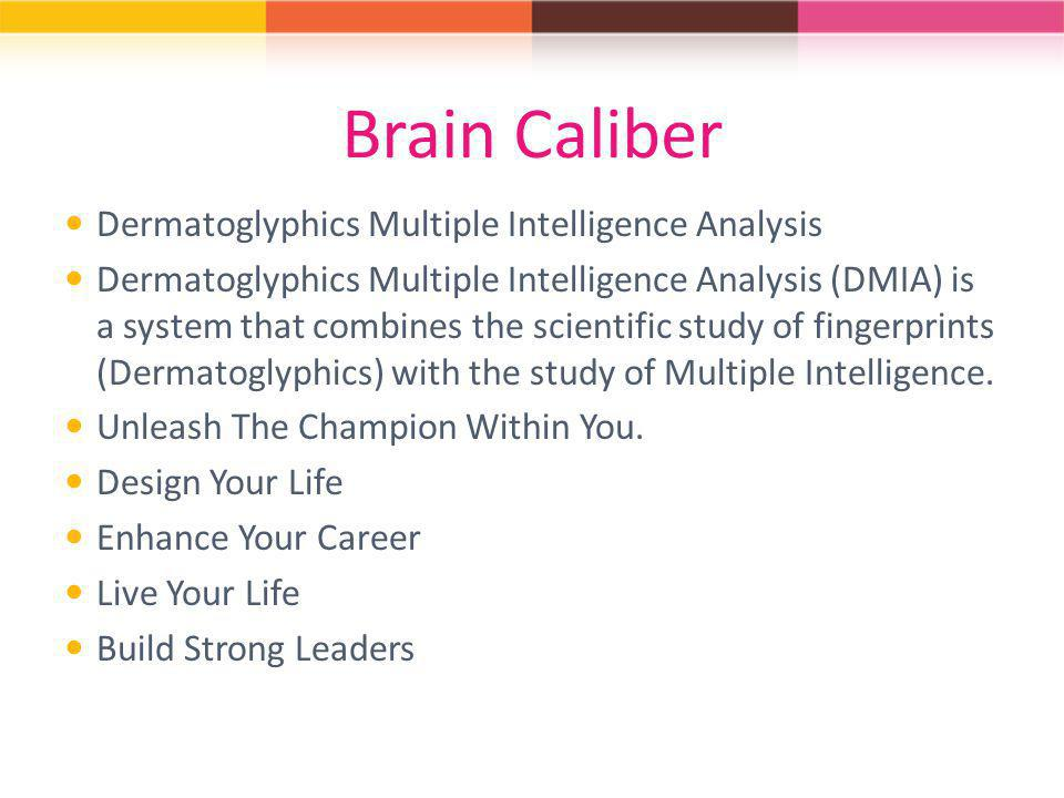 Brain Caliber Dermatoglyphics Multiple Intelligence Analysis