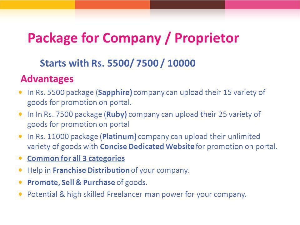 Package for Company / Proprietor