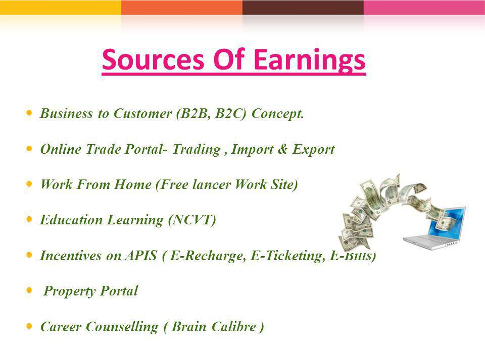 Sources Of Earnings Business to Customer (B2B, B2C) Concept.