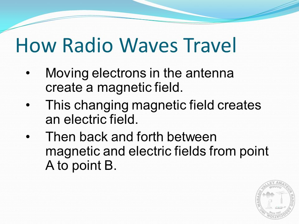 How Radio Waves Travel Moving electrons in the antenna create a magnetic field. This changing magnetic field creates an electric field.