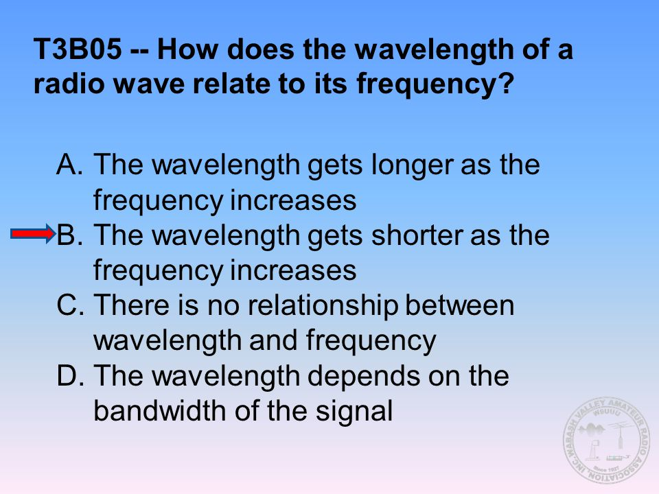 T3B05 -- How does the wavelength of a radio wave relate to its frequency