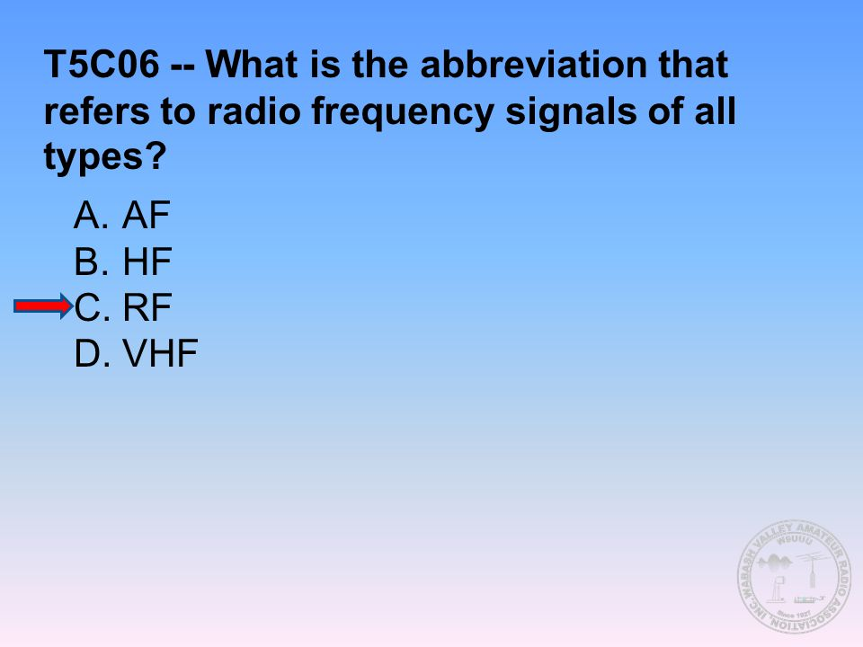 T5C06 -- What is the abbreviation that refers to radio frequency signals of all types