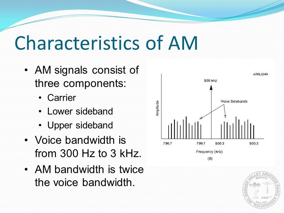 Characteristics of AM AM signals consist of three components: