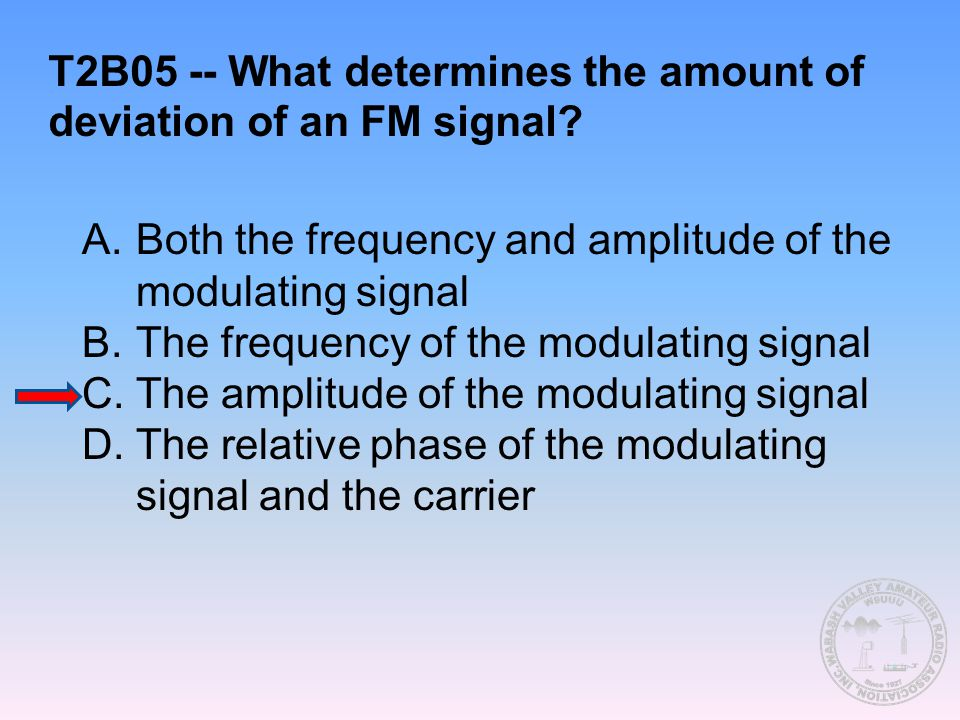 T2B05 -- What determines the amount of deviation of an FM signal