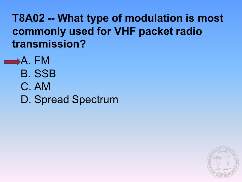 T8A02 -- What type of modulation is most commonly used for VHF packet radio transmission