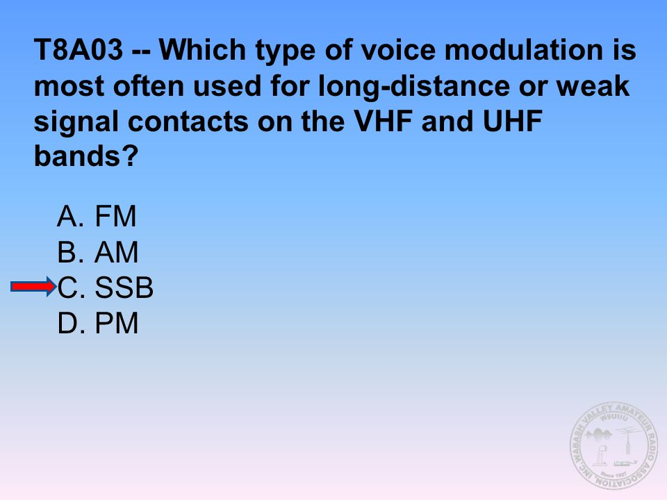 T8A03 -- Which type of voice modulation is most often used for long-distance or weak signal contacts on the VHF and UHF bands