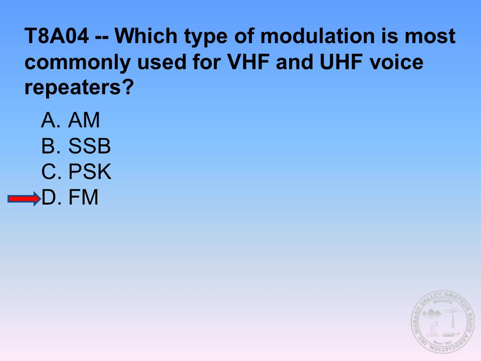 T8A04 -- Which type of modulation is most commonly used for VHF and UHF voice repeaters