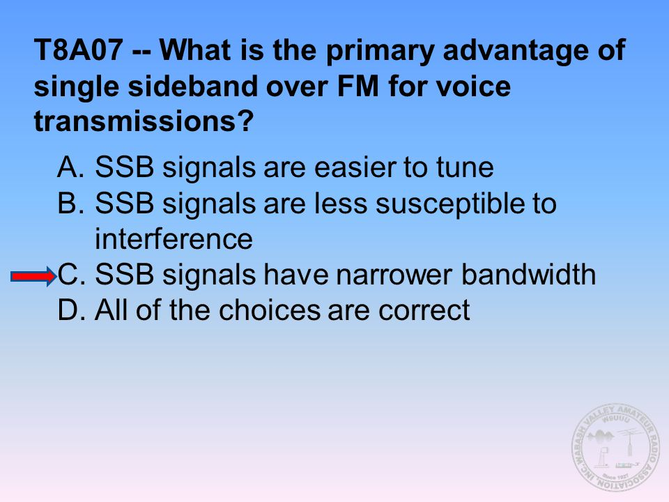 T8A07 -- What is the primary advantage of single sideband over FM for voice transmissions