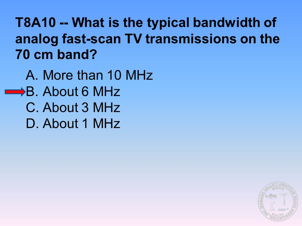 T8A10 -- What is the typical bandwidth of analog fast-scan TV transmissions on the 70 cm band