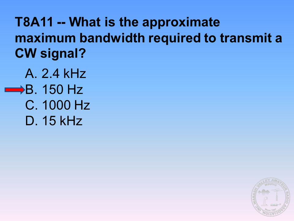 T8A11 -- What is the approximate maximum bandwidth required to transmit a CW signal