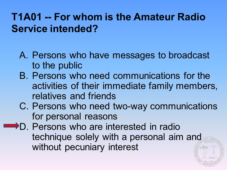 T1A01 -- For whom is the Amateur Radio Service intended