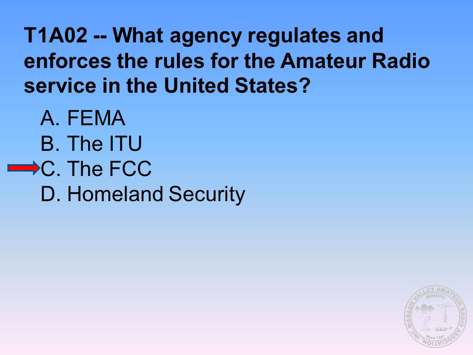 T1A02 -- What agency regulates and enforces the rules for the Amateur Radio service in the United States