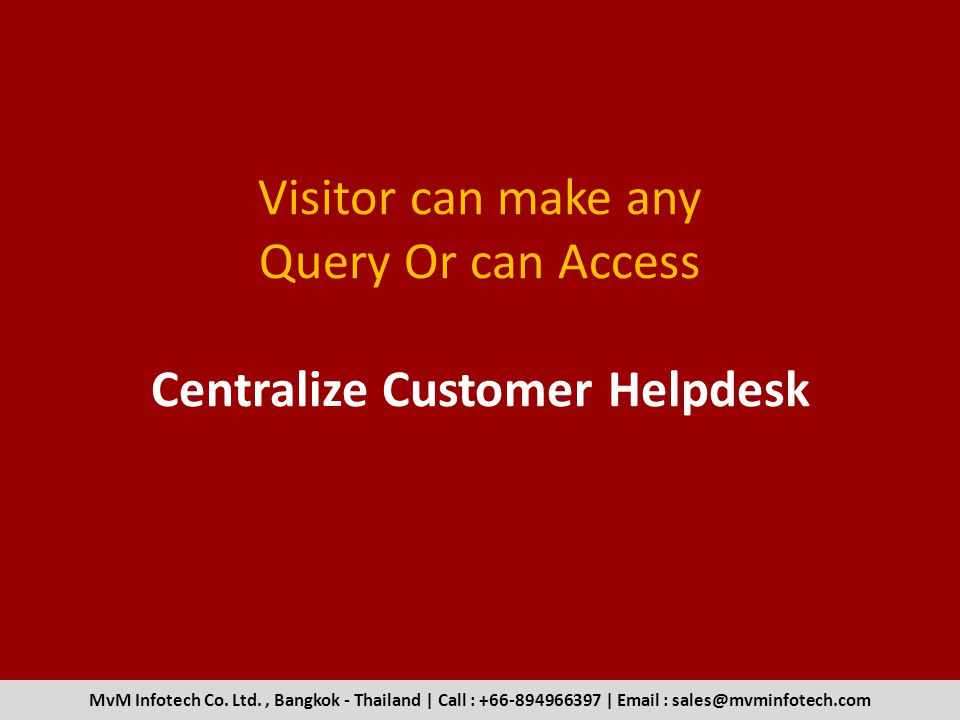 Visitor can make any Query Or can Access Centralize Customer Helpdesk