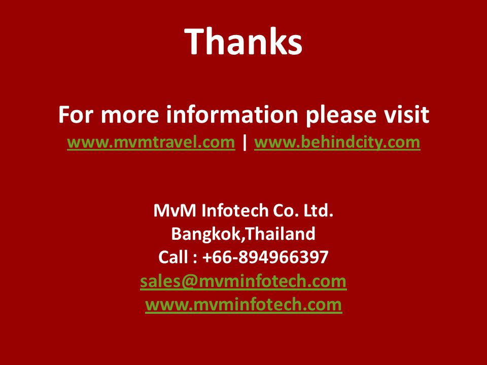 Thanks For more information please visit www. mvmtravel. com | www