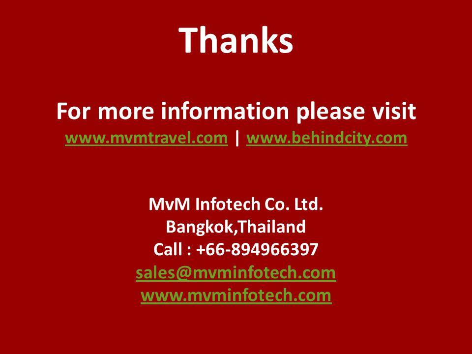 Thanks For more information please visit www. mvmtravel. com   www