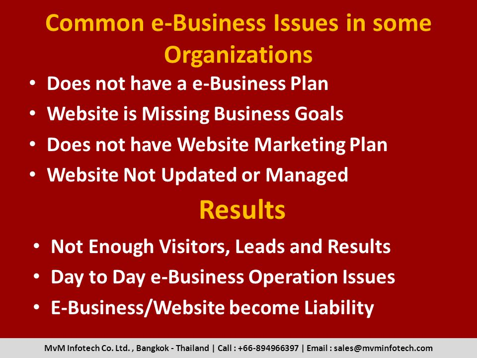 Common e-Business Issues in some Organizations