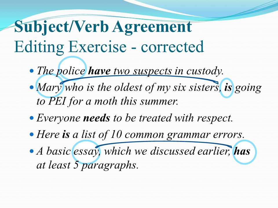 Subject/Verb Agreement Editing Exercise - corrected