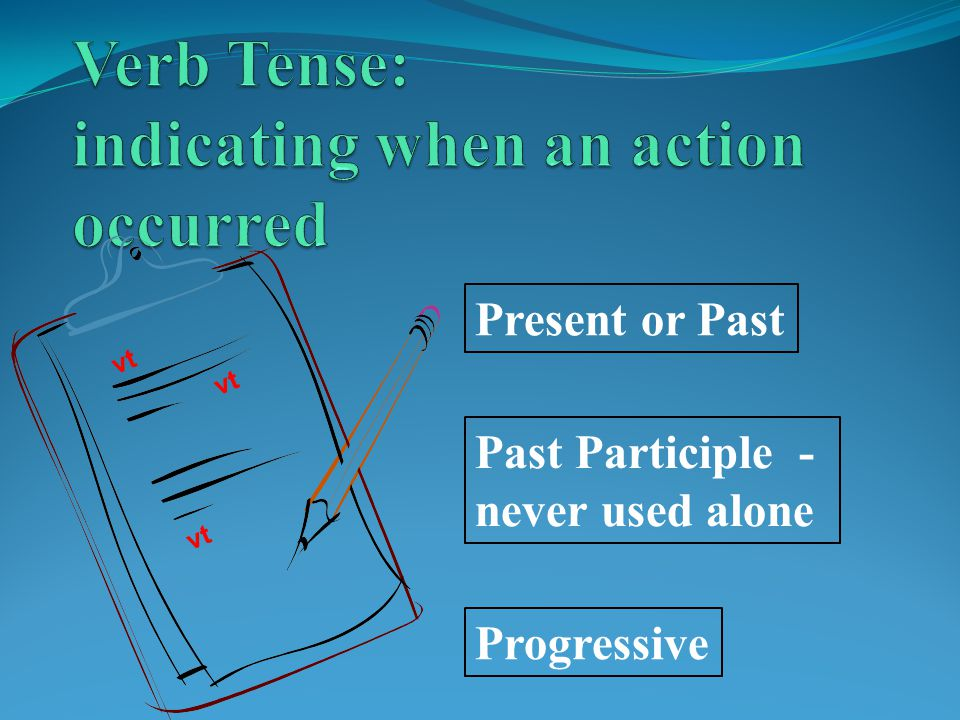 Verb Tense: indicating when an action occurred