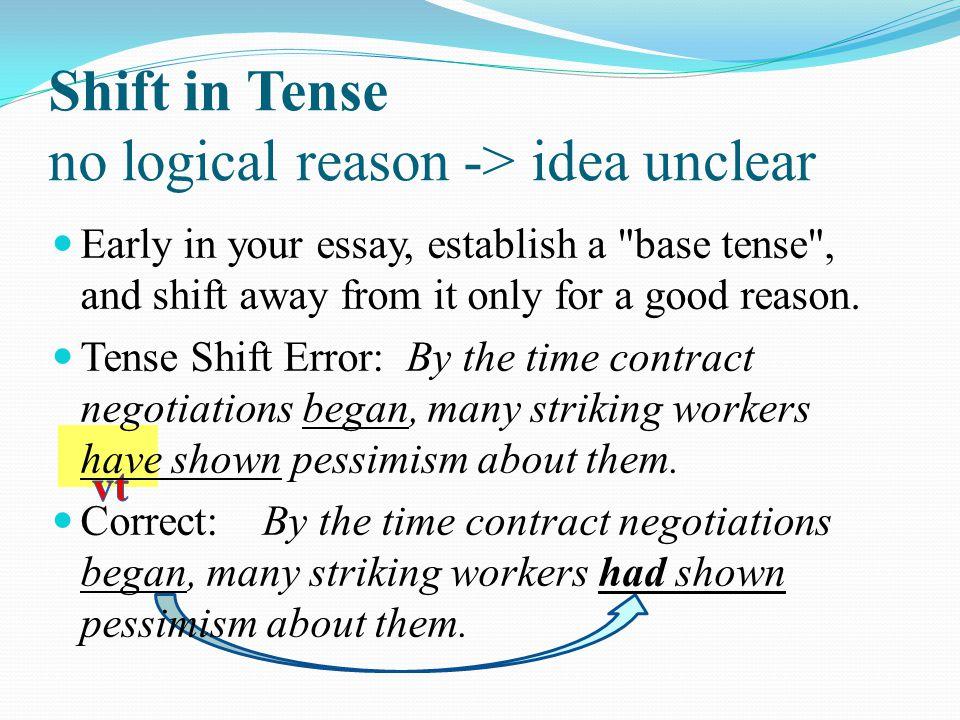 Shift in Tense no logical reason -> idea unclear