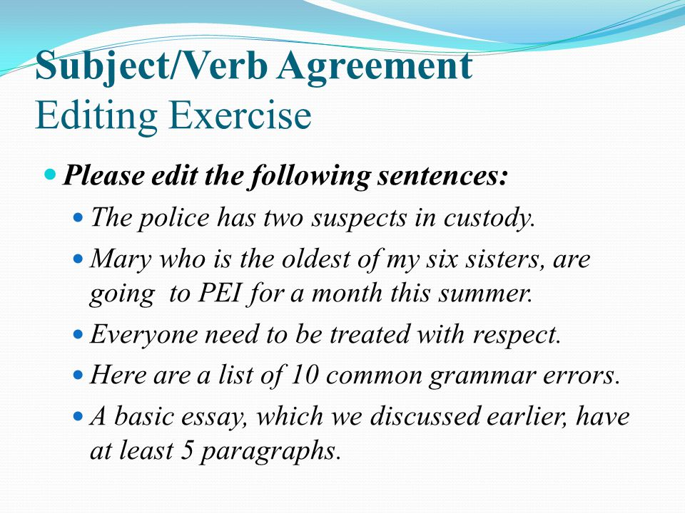 Subject/Verb Agreement Editing Exercise