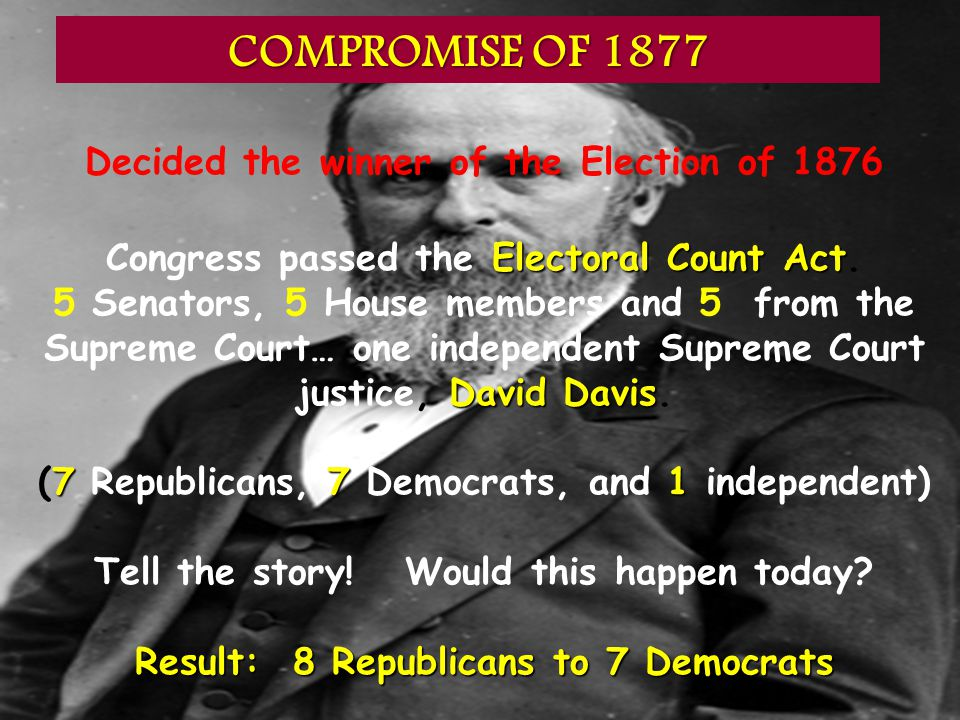 COMPROMISE OF 1877 Decided the winner of the Election of 1876