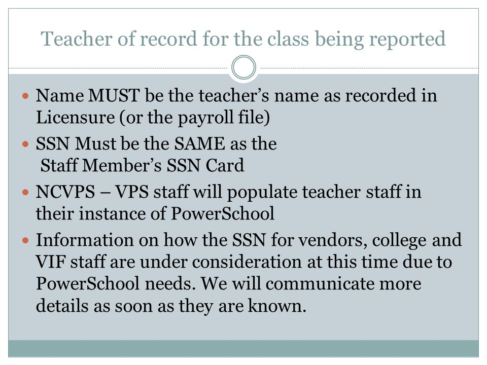 Teacher of record for the class being reported
