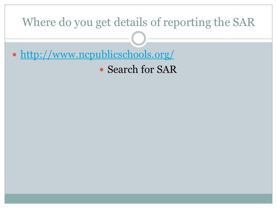 Where do you get details of reporting the SAR
