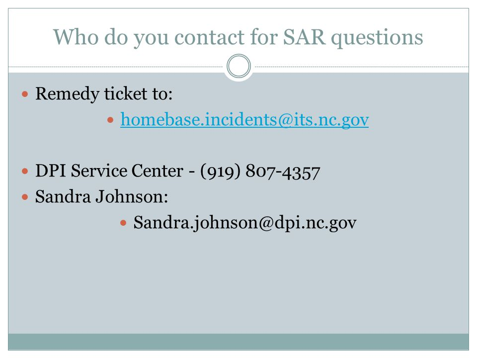 Who do you contact for SAR questions