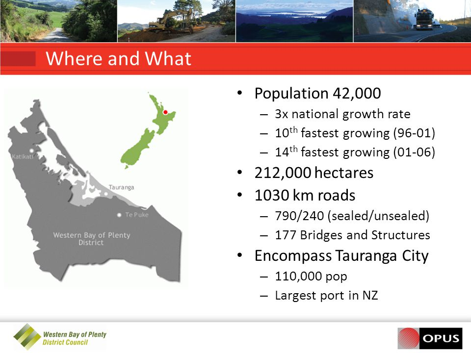 Where and What Population 42,000 212,000 hectares 1030 km roads