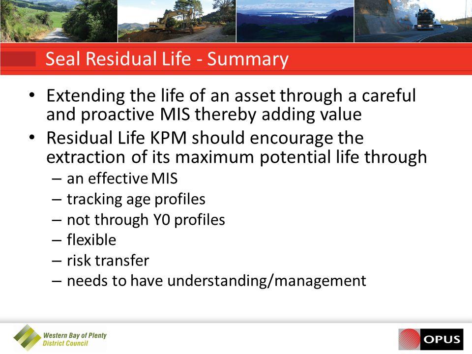 Seal Residual Life - Summary