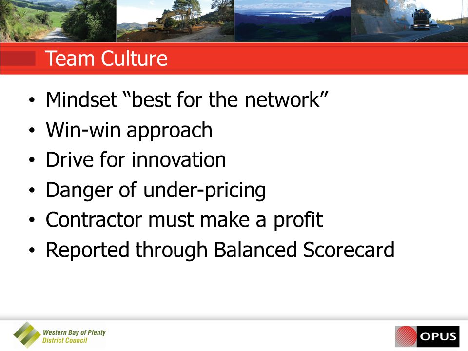 Team Culture Mindset best for the network Win-win approach. Drive for innovation. Danger of under-pricing.