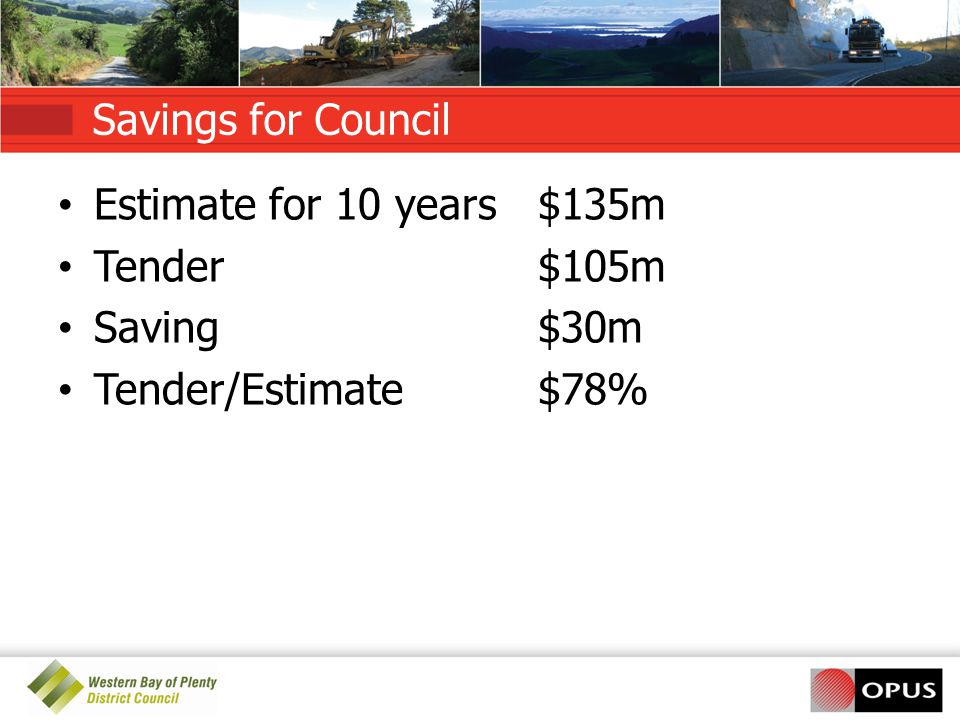 Savings for Council Estimate for 10 years $135m. Tender $105m.