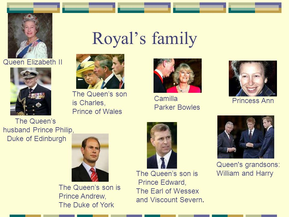Royal's family Queen Elizabeth II The Queen's son is Charles,