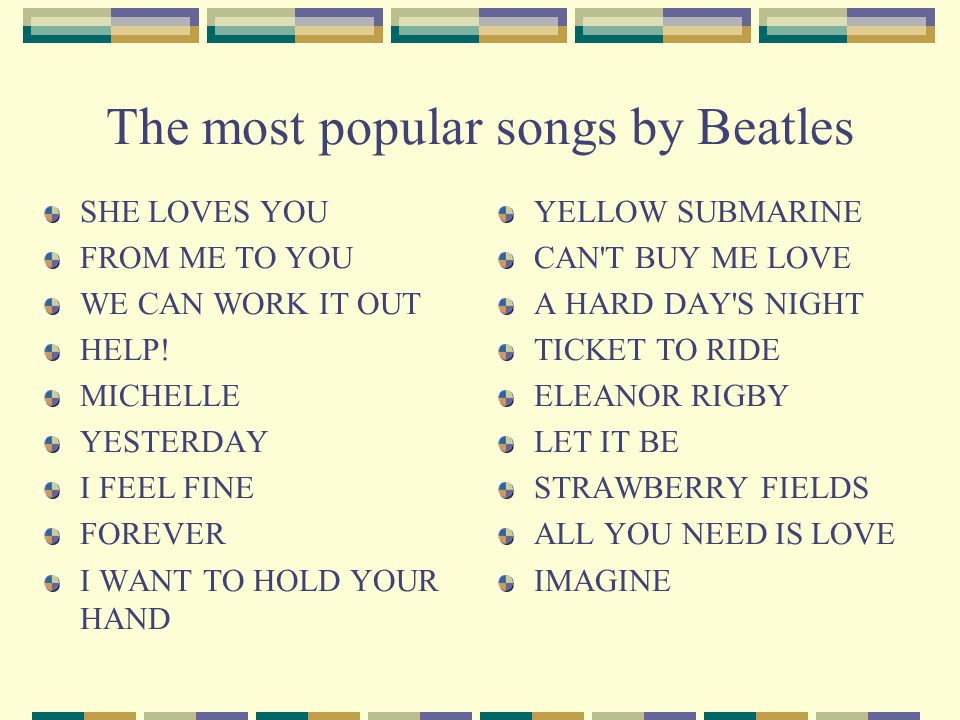The most popular songs by Beatles